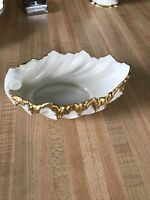 "Lenox USA China 6"" Ivory Acanthus Gold Trim Leaf Shell Bowl Candy Dish Vintage"