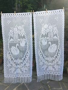 Pair Long Vintage French Pictorial Coloured Net Curtains132cmW x 156cmL Swans
