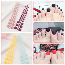 Toes Full Cover Nails Tips French Design Oval Frosted Artificial Nails~