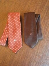 2 Pierre Cardin Neck Tie Brown With Polka Dots Polyester Necktie Vintage Logo