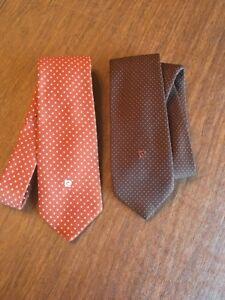 2 Pierre Cardin Neck Tie Brown With Polka Dots Polyester Necktie Vintage Logo