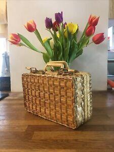Vintage Woven Wicker Bamboo Rattan Jewellery Box, Mini Suitcase Trunk 🧳