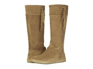 Women's Shoes UGG EMERIE Tall Suede Fringe Boho Boots 1106754 CHESTNUT