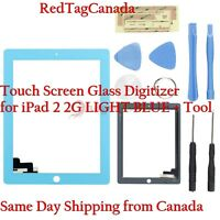 Touch Screen Glass Digitizer for Apple iPad 2 2G Light Blue NEW +Tool Canada