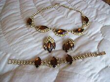 Necklace, Bracelet & Earrings Vtg. Rhinestone Amber/Rootbeer Set Juliana D & E