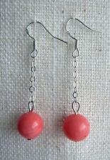Genuine Pink Coral Bead / Ball on 925 Silver Wires Drop/ Dangling Earrings 10 mm
