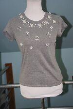 Top Shop Marled Gray Knit Cap Sleeve Jeweled T-Shirt - US 4/UK 8 - NWOT