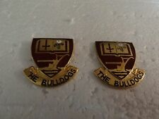 MILITARY INSIGNIA CREST DUI SET OF 2 THE BULLDOGS