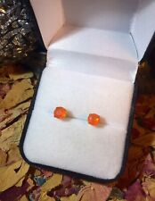 Intense natural Mexican Fire Opal 6mm round 14K yellow gold stud earrings 🔥