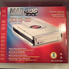 Mad Dog Multimedia 52x CD-RW NEU! Modell # MD -52 xcdex Dominator Externe USB 2.0