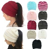 Beanietail Messy High Bun Ponytail Stretchy Knit Beanie Hat Skull Women Bu