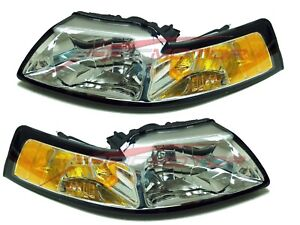 For 1999-2000 Ford Mustang Head Lights Lamps Driver & Passenger Side LH+RH