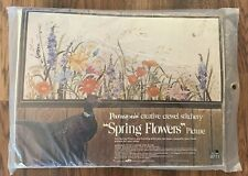 Spring Flowers Vintage Crewel Embroidery Kit by Georgia Ball Paragon Floral New