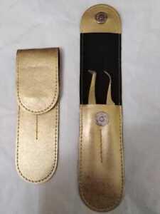 Gold Color Eyelash volume Tweezers  set of 2 pieces with Gold case