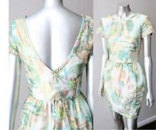 H&M Conscious Collection Brocade Lurex Organic Cotton Plunging V Tulip Dress S