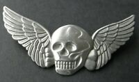 Skull Death Wings Biker Special Forces Pewter Hat Jacket Lapel Pin 3 inches