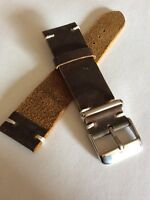 Vintage 22mm Genuine Leather Watch Band Strap HANDMADE Brown fits ALL BRANDS.