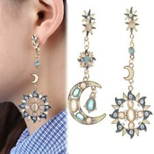 Long Drop Earrings Asymmetric Dangle Moon Star Sun Gold Crystal Rhinestone Blue