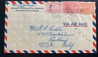 1930s Dhahran Saudi Arabia Airmail Oil Company Cover to Oakland CA USA
