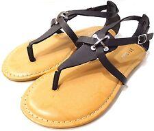 Bamboo Armin-48 Black Women Flat Sandals Black US Size 6M NEW