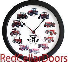"New MASSEY FERGUSON 14"" Tractor Clock 12 Tractors MASSIVE Wheel Dial Black Logo"