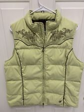 Ariat Equestrian Down Quilted Puffer Vest Women's Size Large - Lime Green/Brown