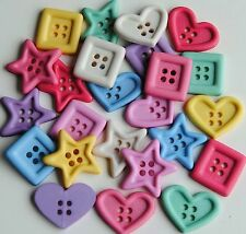 CHUNKY SHAPES Ice Cream Soda Heart Star Square Novelty Dress It Up Craft Buttons