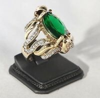 925 Sterling Silver Handmade Antique Turkish Emerald Ladies Ring Size 6-9