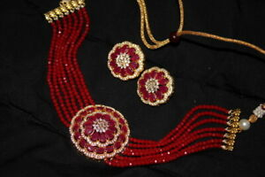 RED CRYSTAL INDIAN WEDDING GOLD PLATED RUBY AD CZ CHOKER NECKLACE EARRINGS SET