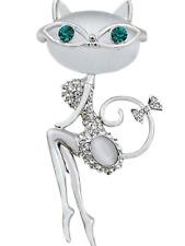 Diamante Sexy cat opal Brooch Jewellery Badge Costume Dress present gift