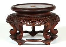 Antique Chinese Carved Wood Wooden Vase Display Stand Hardwood