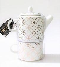 NEW COCO+LOLA WHITE BONE CHINA+METALLIC GOLD TRIM COFFEE,TEA POT FOR ONE SET