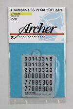 Archer 1/72 1./s.SS-Pz.Abt.501 Turret Markings WWII (Tiger II) (Black) AR74010B