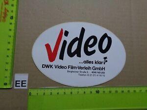 Alter Aufkleber Bühne Film Kino VideoThek DWK VIDEO FILM-VERLEIH NEUSS