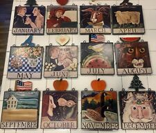 Set Of 12 Nancy Thomas Folk Art 11x8 Calendar Wall Plaques December Thru January