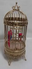 Dolls house miniature Floor Standing Guilded Gold Cage with two feathered Macaw'