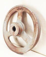 "Vtg 3 spoke 7"" v-belt groove pulley wheel cast iron farm industrial machine"
