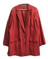 Lands End Womens Red Blazer Jacket Size 26W Wool Cashmere Blend Stretch New