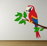 PARROT BRANCH Wall Sticker MURAL DECAL KIDS BEDROOM JUNGLE NURSERY ANIMAL