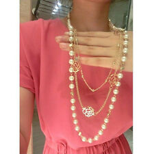 New Fashion Multilayer Chains Gold Rose White Pearl Flower Long Necklace