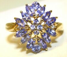 9CT  GOLD TANZANITE RING MARQUISE   ABSTRACT CLUSTER  SIZE M 1/2  YELLOW GOLD