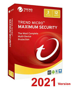 Trend Micro Maximum Security 2021 - 1 Year 3 Devices for PC, Mac, Android or iOS
