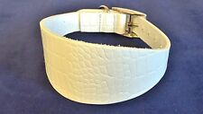 "**LEATHER**  WHITE CROC AFFECT GREYHOUND/LURCHER DOG COLLAR  ADJUST# 13"" - 17""}]"