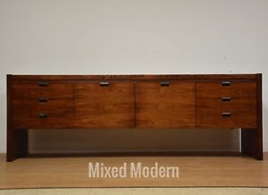 Roger Sprunger Rosewood and Chrome Mid Century Credenza for Dunbar