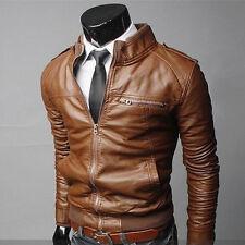 New Men's Fashion Jackets Collar Slim Motorcycle Leather Jacket Coat Outwear