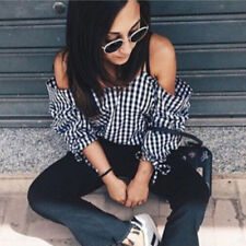 Fashion Women's Casual Long Sleeve Tops Off Shoulder Shirt Blouse Loose T-shirt