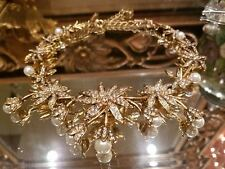~WOW! Auth  Signed OSCAR DE LA RENTA Pearl flower star snowflake necklace Gold