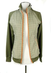 Nike Golf Women's Jacket Olive Green Gingham Check Orange Small Full Zip Hooded