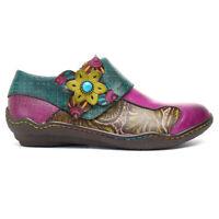 SOCOFY Women Printing Splicing Plant Pattern Hook Loop Flat Leather Shoes  5 *