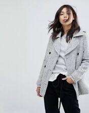 NWT Abercrombie Fitch WOOL-BLEND PEACOAT Size XS Black And White Herringbone